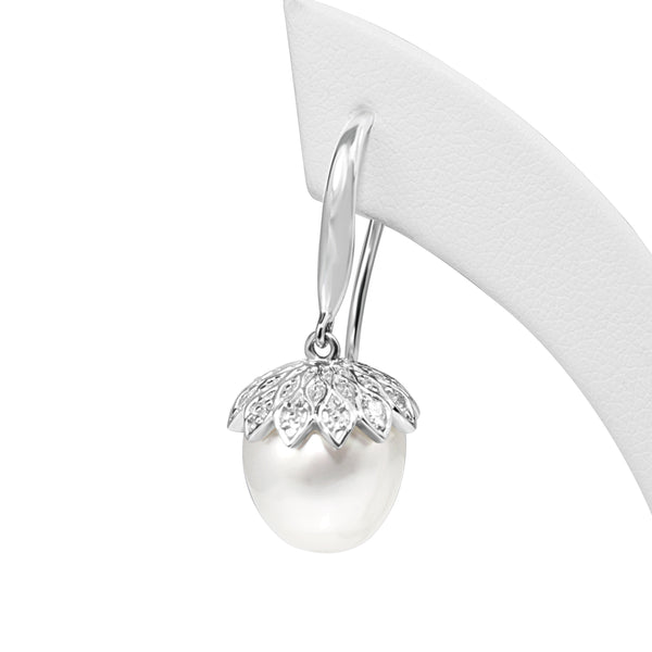 18ct White Gold South Sea 10mm Pearl and Diamond 'Acorn' Earrings