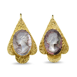14ct Yellow Gold Mother Of Pearl Cameo Earrings
