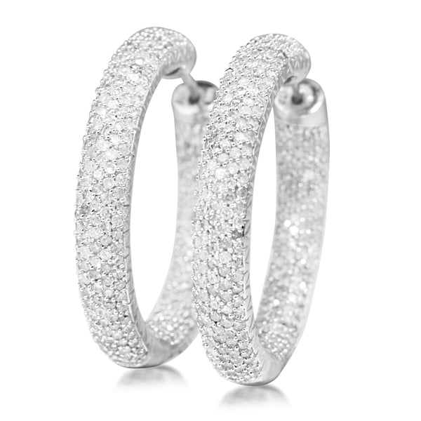 14ct White Gold 4.00ct Diamond Hoop Earrings