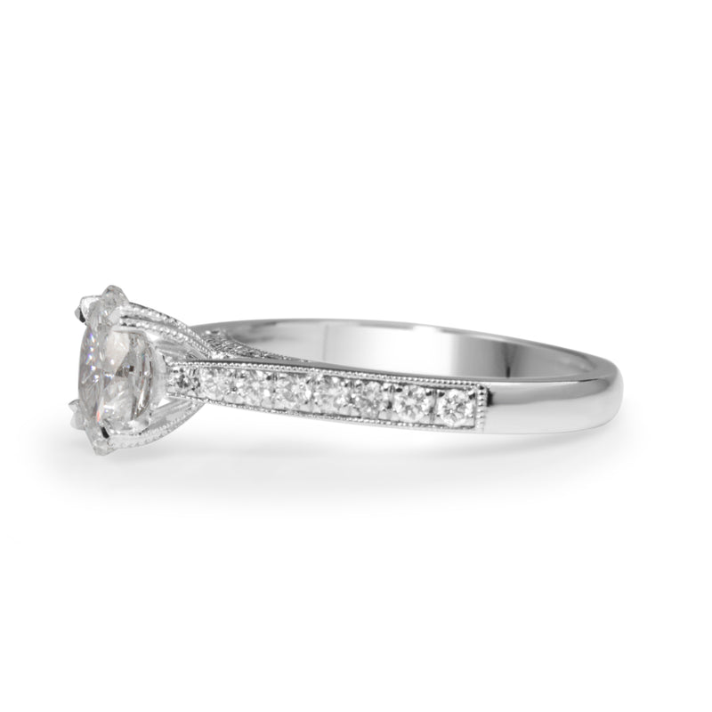 Platinum Oval Diamond Solitaire Ring