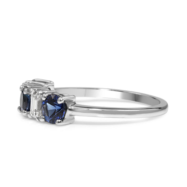 14ct White Gold Sapphire and Diamond 5 Stone Ring