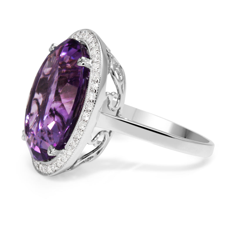18ct White Gold Large Amethyst and Diamond Halo Ring