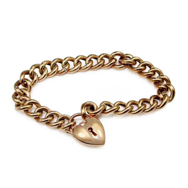9ct Rose / Yellow Gold Curb Link Bracelet with Padlock Clasp