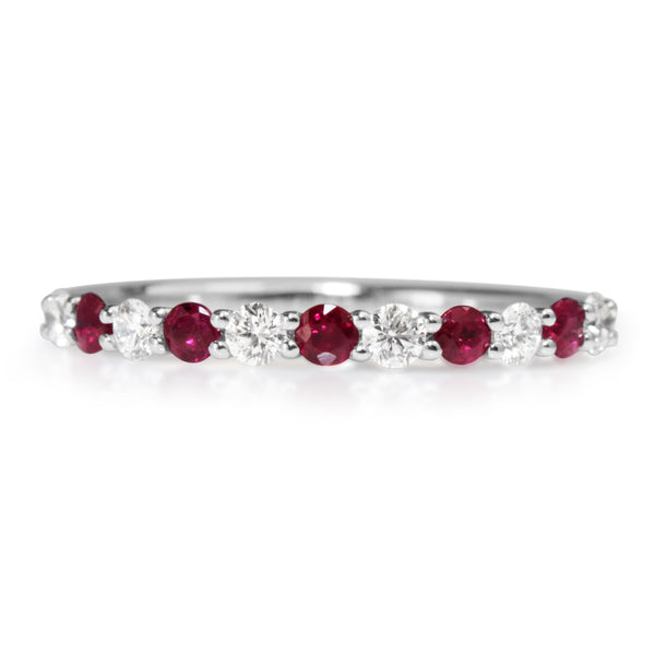 9ct White Gold Ruby and Diamond Band
