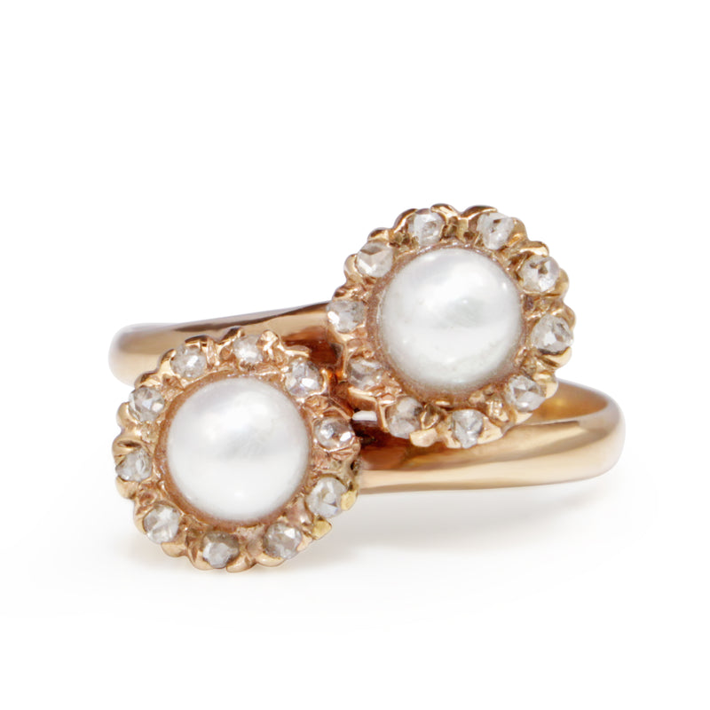 18ct Rose / Yellow Gold Antique Pearl and Rose Cut Diamond 'Moi et Toi' Ring
