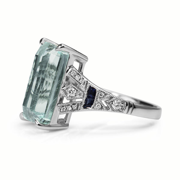 18ct White Gold Deco Style Aquamarine, Sapphire and Diamond Ring