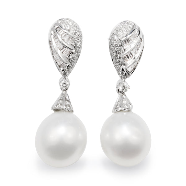 14ct White Gold Vintage Diamond 12mm South Sea Pearl Earrings