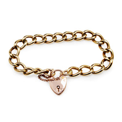 9ct Yellow Gold Curb Link Bracelet with Rose Gold Padlock