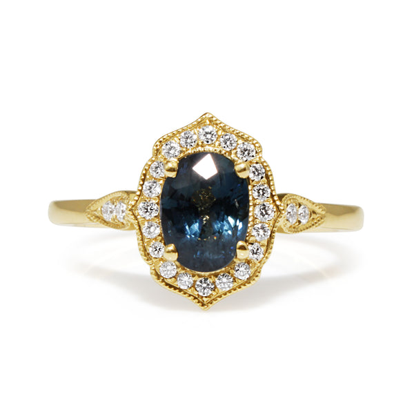 18ct Yellow Gold Vintage Style Sapphire and Diamond Ring
