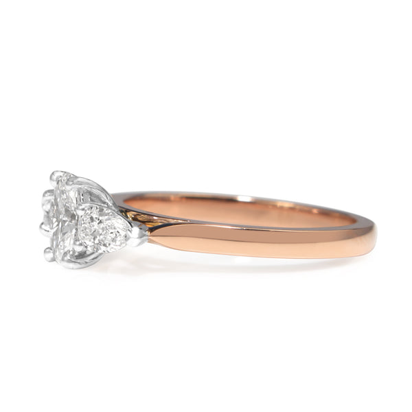 18ct Rose and White Gold Oval and Pear Diamond 3 Stone Ring