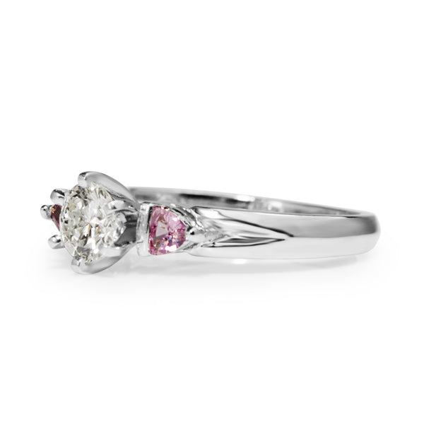 Platinum Diamond and Pink Sapphire 3 Stone Ring