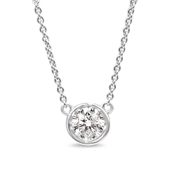 18ct White Gold Diamond Solitaire Bezel Necklace