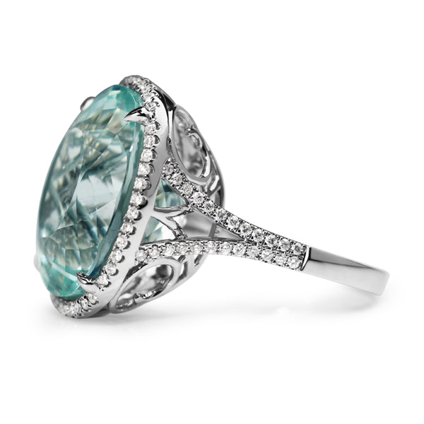 18ct White Gold Aquamarine and Diamond Halo Ring