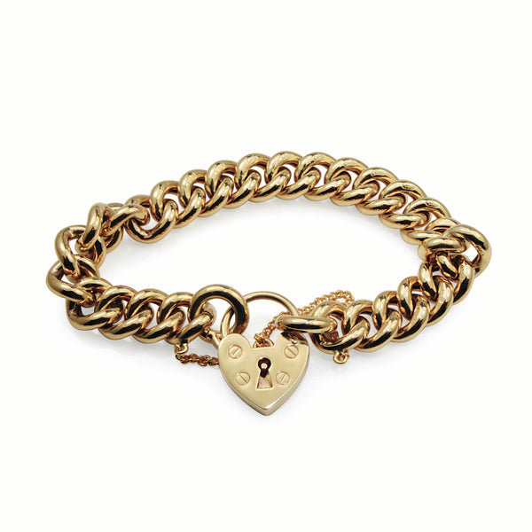 9ct Yellow Gold Curb Link Bracelet with Heart Padlock