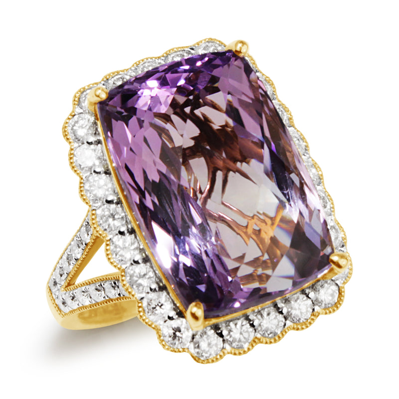 18ct Yellow Gold Amethyst and Diamond Daisy Style Halo Ring