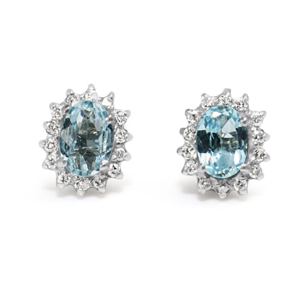 18ct White Gold Aquamarine and Diamond Halo Earrings