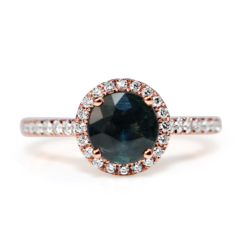 18ct Rose Gold Sapphire and Diamond Halo Ring