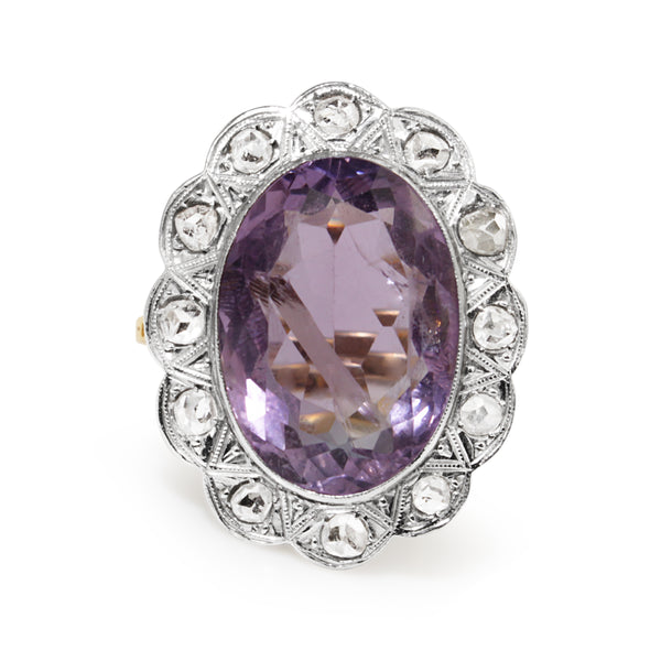 18ct Yellow and White Gold Antique Amethyst and Rose Cut Diamond Ring