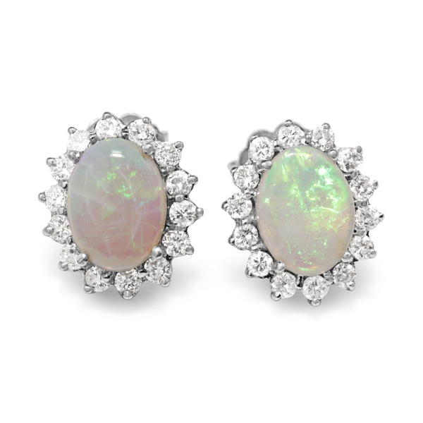 14ct White Gold Opal and Diamond Halo Earrings