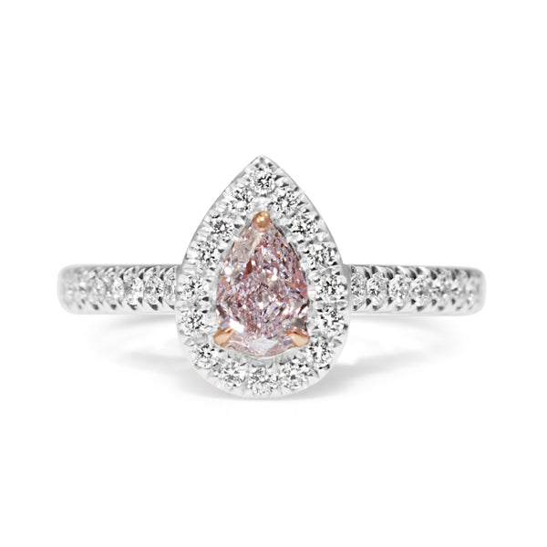 18ct White and Rose Gold Pink and White Diamond Pear Halo Ring