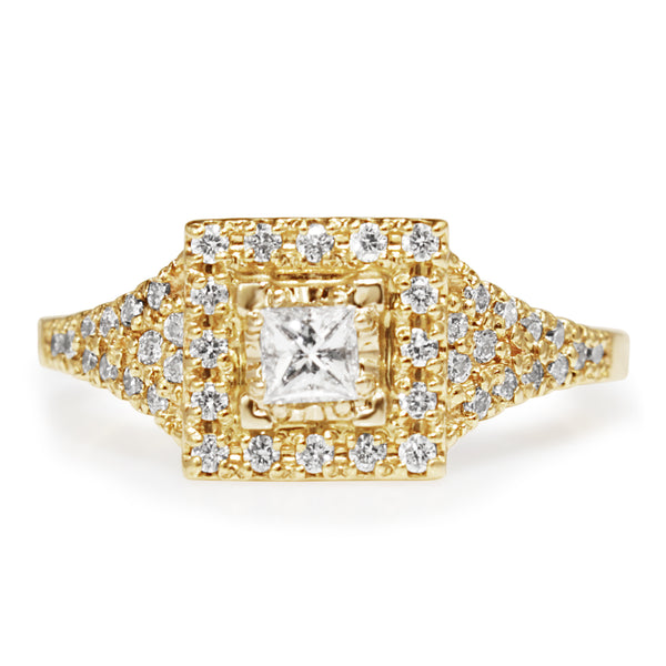 10ct Yellow Gold Square Diamond Halo Ring