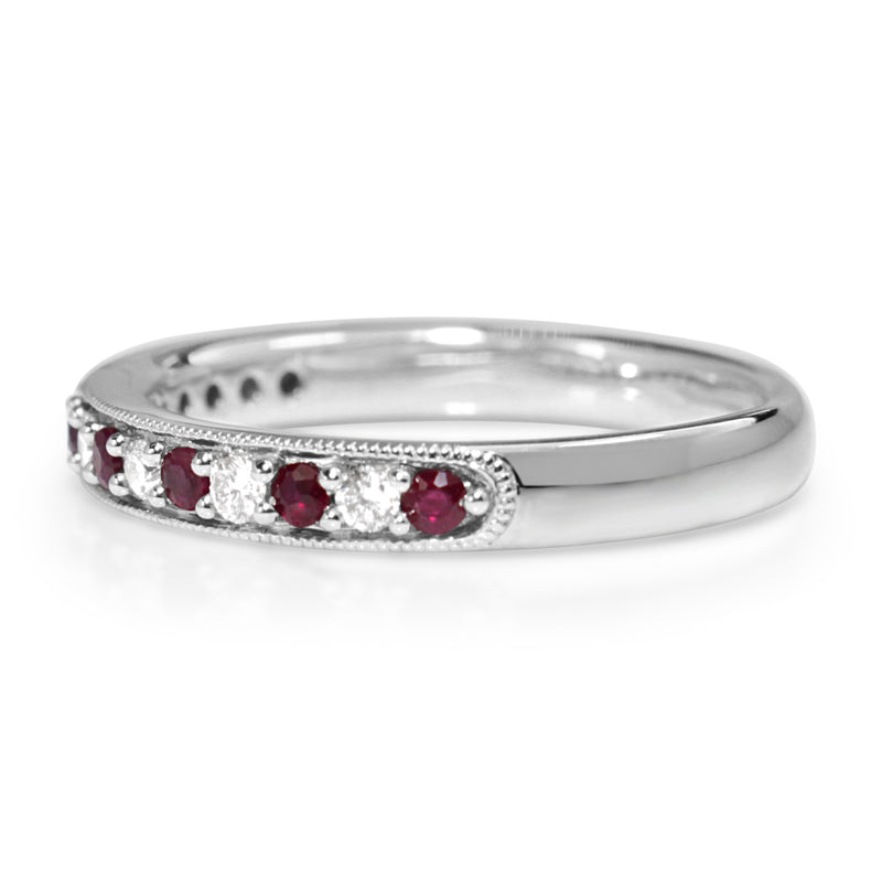 9ct White Gold Ruby and Diamond Ring