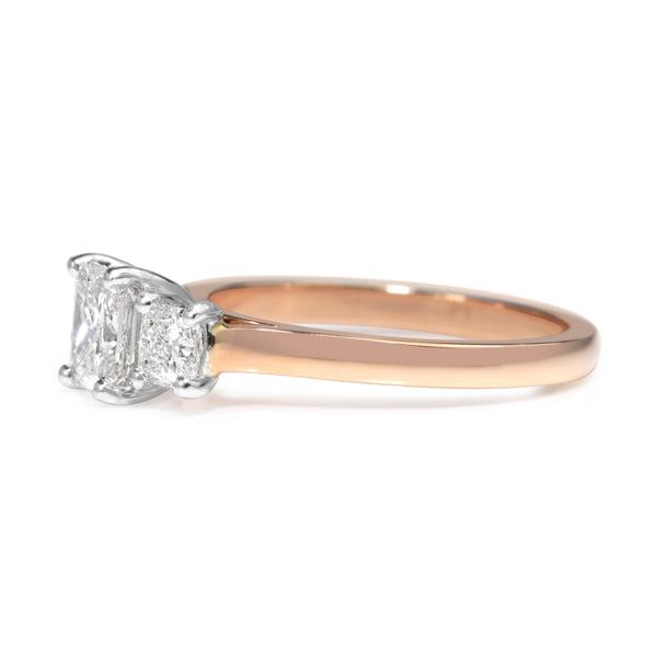 18ct Rose and White Gold Radiant and Cushion Cut 3 Stone Diamond Ring
