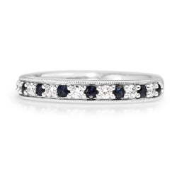 9ct White Gold Sapphire and Diamond Band