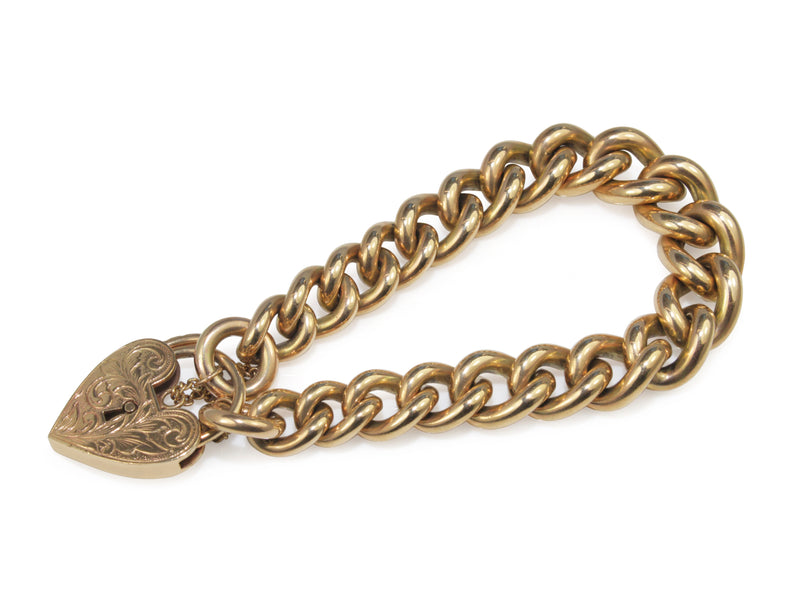 9ct Yellow Gold Graduated Curb Link Bracelet with Heart Padlock