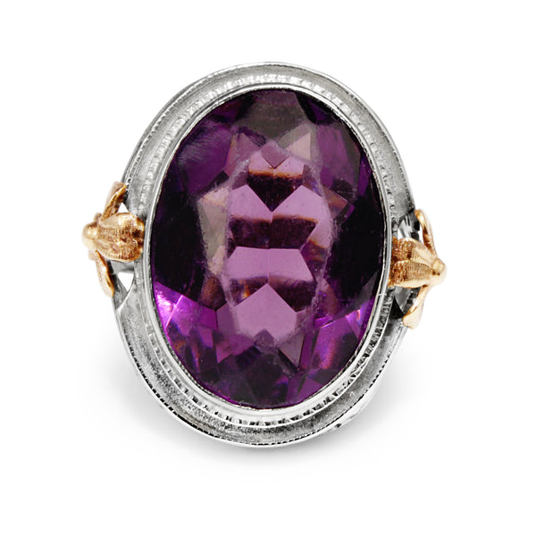 10ct White Gold Amethyst Ring With Rose Gold Detail