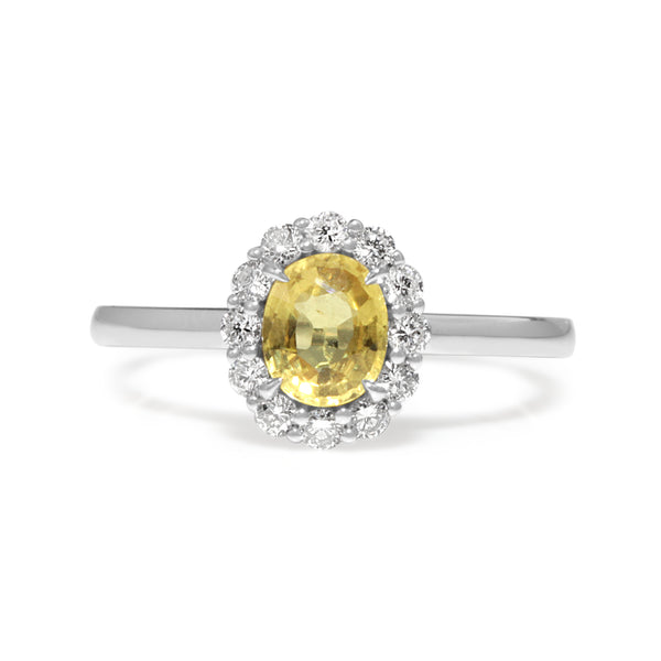 18ct White Gold Yellow Sapphire and Diamond Halo Ring