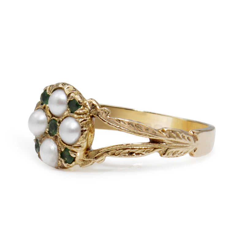 9ct Yellow Gold Antique Emerald and Pearl Ring