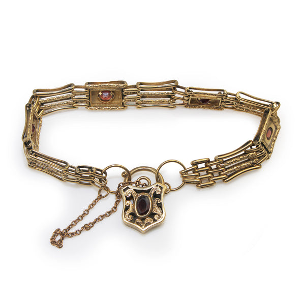 9ct Yellow Gold Gate Link Bracelet with Garnets