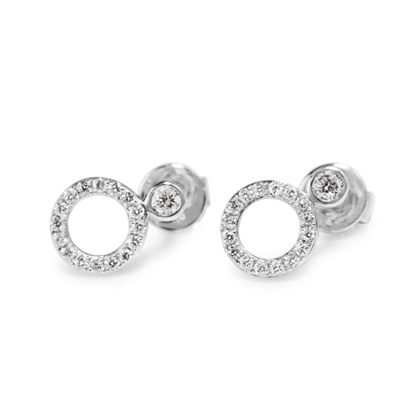 9ct White Gold Circle Diamond Stud Earrings