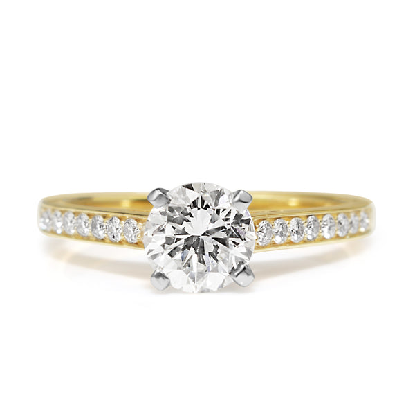 18ct Yellow Gold and Platinum Diamond Solitaire Ring