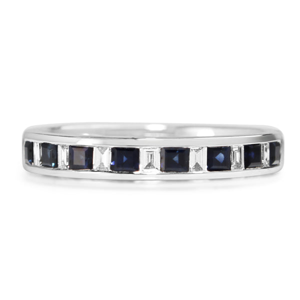 9ct White Gold Sapphire and Diamond Channel Set Band