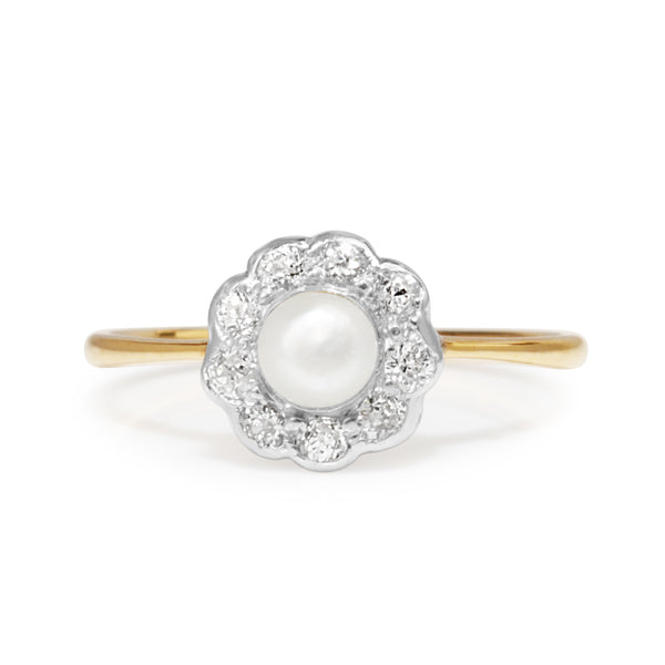 18ct Yellow Gold and Silver Topped Antique Pearl and Diamond Daisy Ring