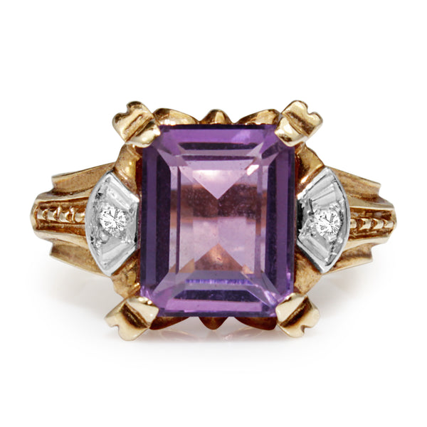 18ct Rose and White Gold Art Deco Amethyst and Diamond Ring