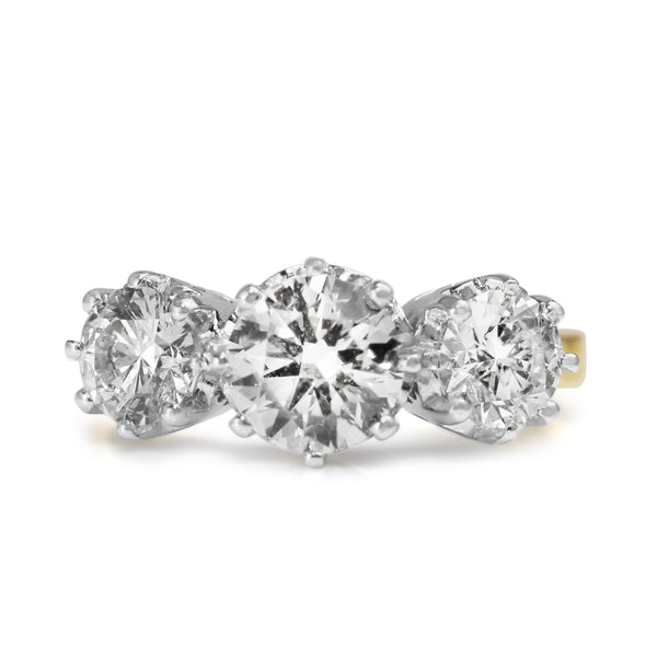 18ct Yellow and White Gold Victorian Style 3 Stone Diamond Ring