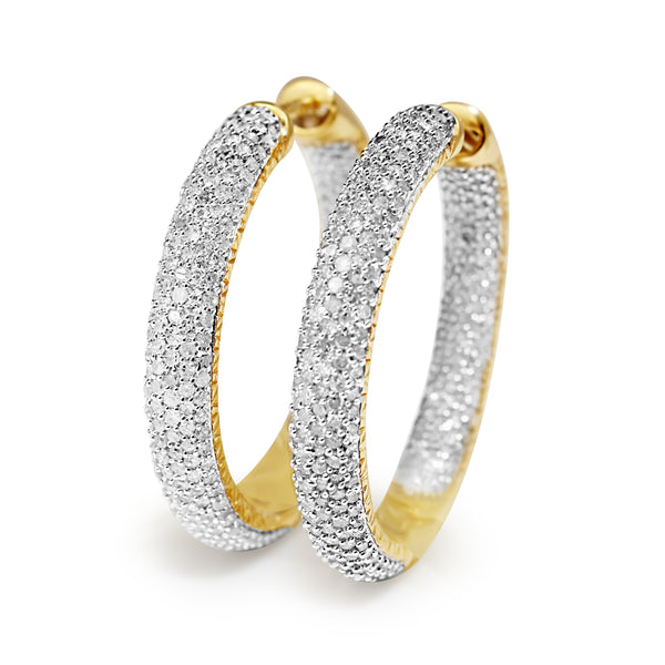 14ct Yellow and White Gold Pavé Diamond Hoop Earrings