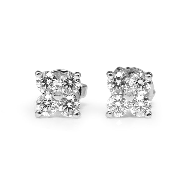 9ct White Gold Diamond 'Clover' Earrings