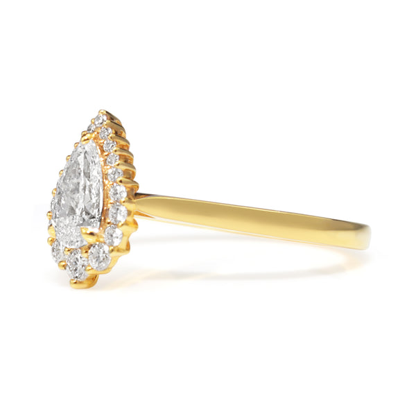 18ct Yellow Gold Graduated Pear Halo Diamond Ring