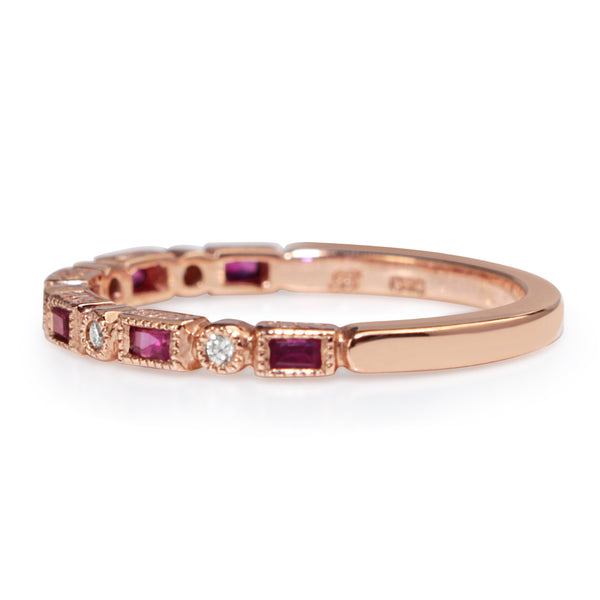 9ct Rose Gold Deco Style Ruby and Diamond Band