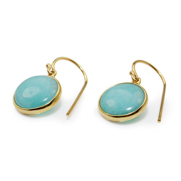 9ct Yellow Gold Amazonite Earrings