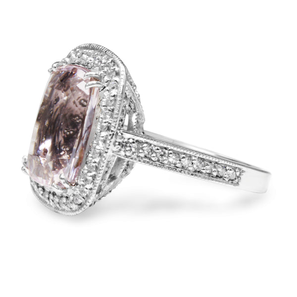18ct White Gold Kunzite and Diamond Halo Ring
