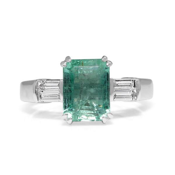 18ct White Gold Emerald and Baguette Diamond Ring