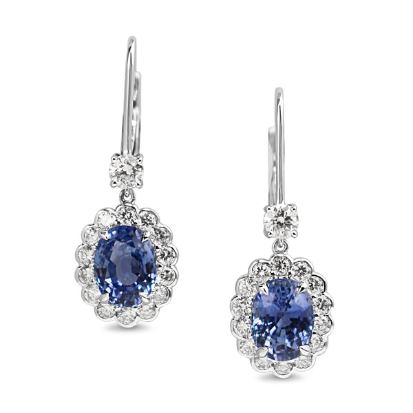 18ct White Gold Sapphire and Diamond Daisy Style Drop Earrings