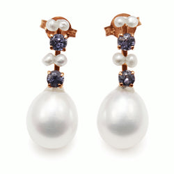 14ct Rose Gold Antique Sapphire and Pearl Earrings
