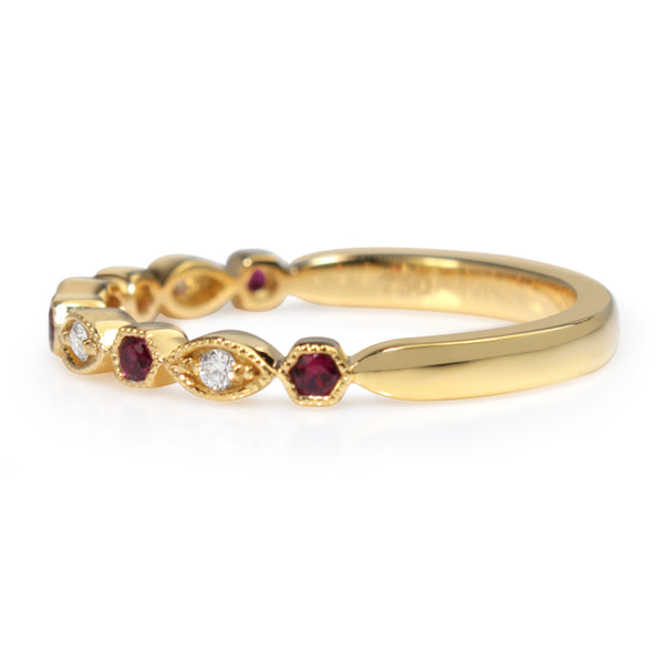 9ct Yellow Gold Ruby and Diamond Vintage Style Band