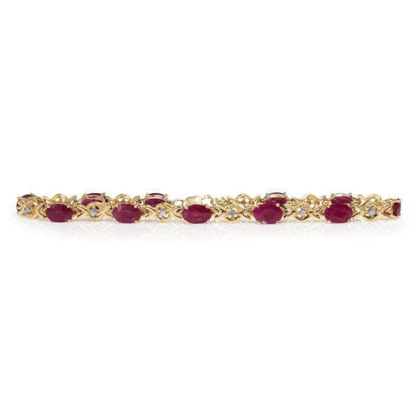 14ct Yellow Gold Ruby and Diamond Bracelet